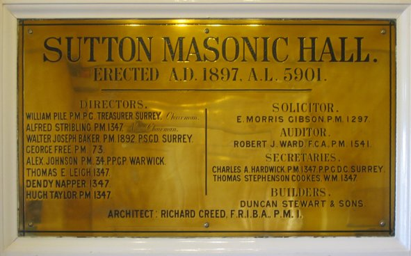 Sutton Masonic Hall - Dedication Plate to the Founders